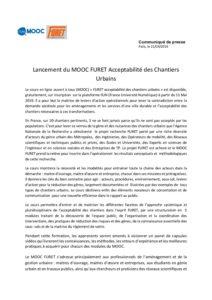 Lancement du MOOC FURET Acceptabilité des Chantiers Urbains.