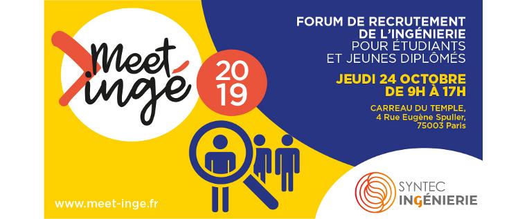 Le forum de recrutement Meet'ingé, c'est parti ! Rendez-vous jeudi 24 octobre au Carreau du Temple à Paris
