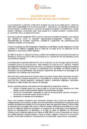Projet de loi relatif à la lutte contre le gaspillage et l'économie circulaire : la profession publie ses propositions
