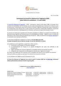 Lancement du Grand Prix National de l'Ingénierie 2020  (date limite de candidature : 31 août 2020)