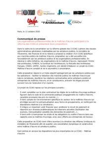 Les organisations professionnelles de la maîtrise d'œuvre participent à la réforme des CCAG et présentent leurs propositions