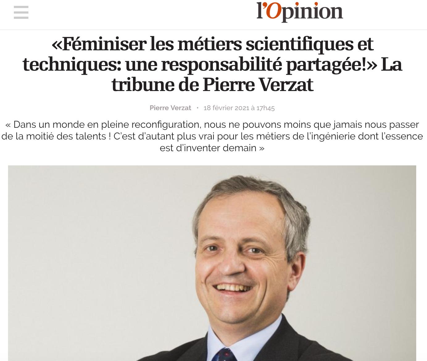 «Féminiser les métiers scientifiques et techniques : une responsabilité partagée!» La tribune de Pierre Verzat dans L'Opinion