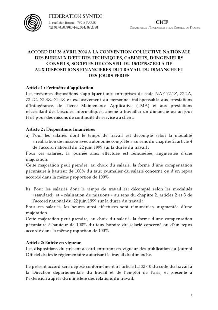 Accords et avenants Archives Page 3 sur 9 SyntecIngnierie