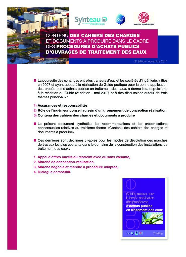 thumbnail of 2011-11-01</br>Contenu-des-cahiers-des-charges-et-documents-à-produire-dans-le-cadre-des-procédures-d'achats-publics-d'ouvrages-de-traitement-des-eaux